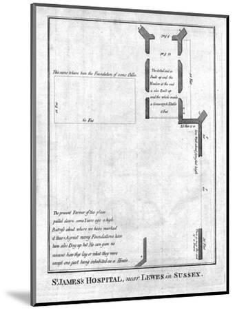 Plan of St James's Hospital near Lewes in Sussex, late 18th-early 19th century-Unknown-Mounted Giclee Print