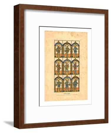 'Painted Window.Two Saxon Earls of Mercia, and Seven Norman Earls of Chester', c1845-Unknown-Framed Giclee Print
