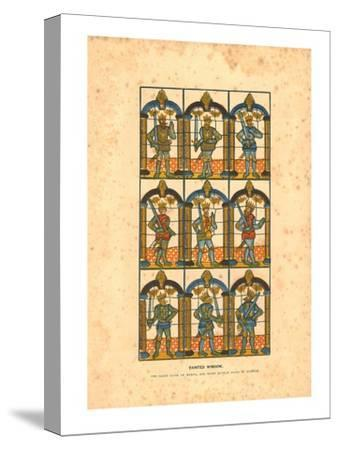 'Painted Window.Two Saxon Earls of Mercia, and Seven Norman Earls of Chester', c1845-Unknown-Stretched Canvas Print