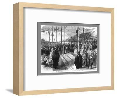 'The Prince of Wales Setting the Chief Stone at the New Grammar School at Reading.', 1870-Unknown-Framed Giclee Print