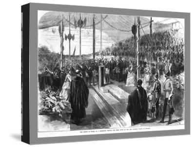 'The Prince of Wales Setting the Chief Stone at the New Grammar School at Reading.', 1870-Unknown-Stretched Canvas Print