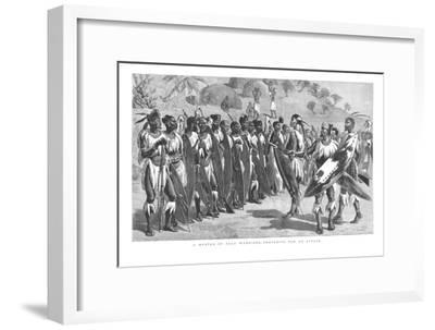 'A Muster of Zulu Warriors - Preparing for an Attack.', 1879-Unknown-Framed Giclee Print