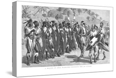 'A Muster of Zulu Warriors - Preparing for an Attack.', 1879-Unknown-Stretched Canvas Print