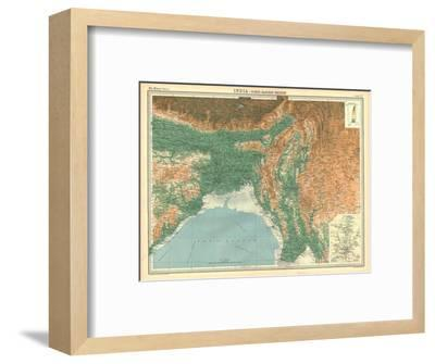 Geographical map of the north-eastern section of India, early 20th century-Unknown-Framed Giclee Print