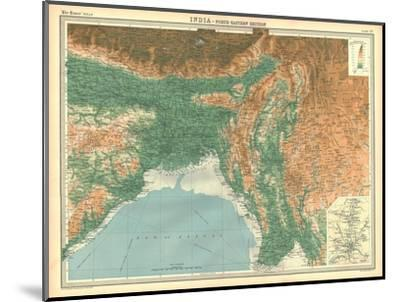 Geographical map of the north-eastern section of India, early 20th century-Unknown-Mounted Giclee Print