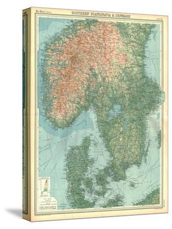 Map of Southern Scandinavia and Denmark-Unknown-Stretched Canvas Print