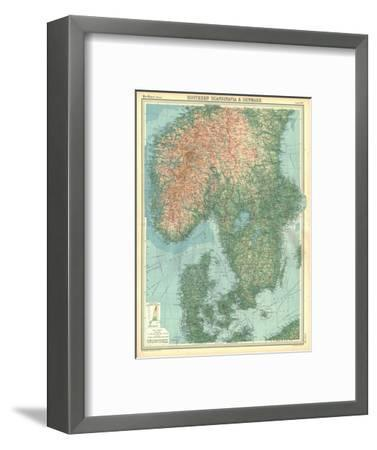 Map of Southern Scandinavia and Denmark-Unknown-Framed Giclee Print
