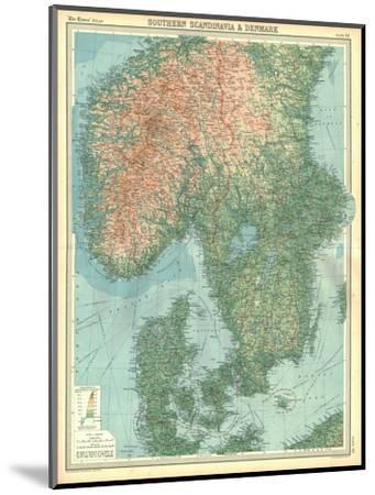 Map of Southern Scandinavia and Denmark-Unknown-Mounted Giclee Print