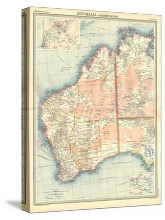Map of Australia - Western Section-Unknown-Stretched Canvas Print