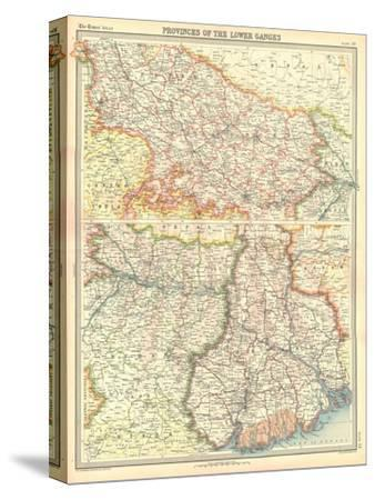 Map of the Provinces of the Lower Ganges-Unknown-Stretched Canvas Print
