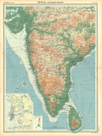 Map of India - Southern Section-Unknown-Framed Giclee Print