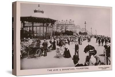 'The Leas & Bandstand, Folkestone', late 19th-early 20th century-Unknown-Stretched Canvas Print