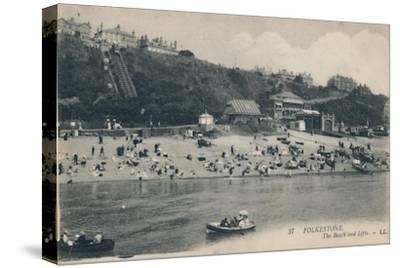 'Folkestone. The Beach and Lifts', late 19th-early 20th century-Unknown-Stretched Canvas Print