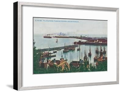 'Folkestone: Turbine Steamer Leaving Harbour, late 19th-early 20th century-Unknown-Framed Giclee Print
