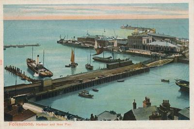'Folkestone. Harbour and New Pier', late 19th-early 20th century-Unknown-Framed Giclee Print