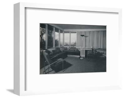 'House at Los Angeles by Richard J Neutra. - An interior shot of the living quarters', 1942-Unknown-Framed Photographic Print