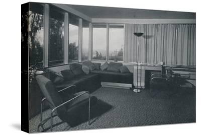 'House at Los Angeles by Richard J Neutra. - An interior shot of the living quarters', 1942-Unknown-Stretched Canvas Print