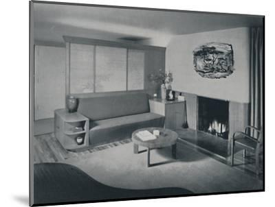 'House at Pomona, California - the living room from the other side of the partition', 1942-Unknown-Mounted Photographic Print