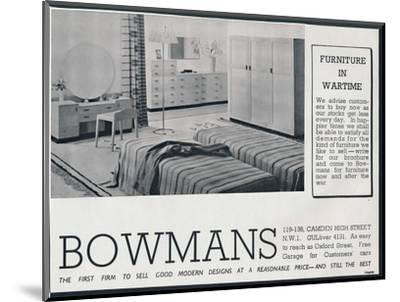 Bowmans advertisement, 1942-Unknown-Mounted Photographic Print