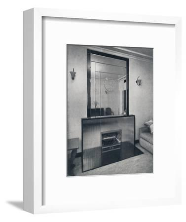 'Electric fireplace and overmantel by James Clark & Son Ltd.', 1940-Unknown-Framed Photographic Print