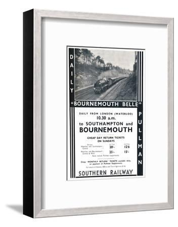 'Bournemouth Belle - Southern Railway', 1936-Unknown-Framed Photographic Print