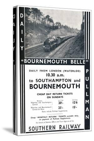'Bournemouth Belle - Southern Railway', 1936-Unknown-Stretched Canvas Print