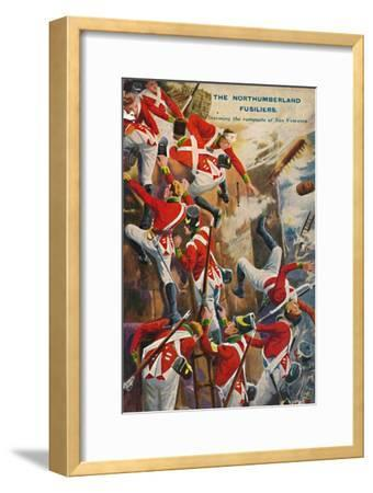 'The Northumberland Fusiliers. Storming the ramparts of San Vincente', 1812, (1939)-Unknown-Framed Giclee Print