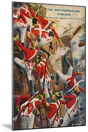'The Northumberland Fusiliers. Storming the ramparts of San Vincente', 1812, (1939)-Unknown-Mounted Giclee Print
