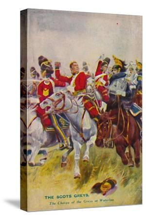 'The Royal Scots Greys. The Charge of the Greys at Waterloo', 1815, (1939)-Unknown-Stretched Canvas Print