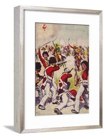 'The Highland Light Infantry. The Charge of the Mahratta Cavalry at Assaye', 1803, (1939)-Unknown-Framed Giclee Print