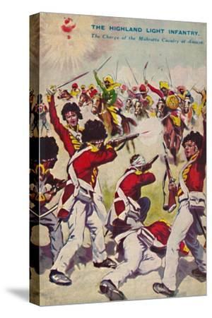 'The Highland Light Infantry. The Charge of the Mahratta Cavalry at Assaye', 1803, (1939)-Unknown-Stretched Canvas Print
