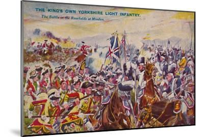 'The King's Own Yorkshire Light Infantry. The Battle in the Rosefields at Minden', 1759, (1939)-Unknown-Mounted Giclee Print