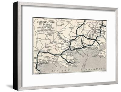 'Bournemouth and District, shewing Southern Railway connections', 1929-Unknown-Framed Giclee Print