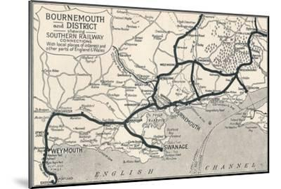 'Bournemouth and District, shewing Southern Railway connections', 1929-Unknown-Mounted Giclee Print