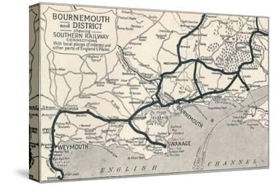 'Bournemouth and District, shewing Southern Railway connections', 1929-Unknown-Stretched Canvas Print