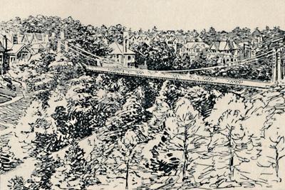 'Alum Chine Suspension Bridge', 1929-Unknown-Framed Giclee Print