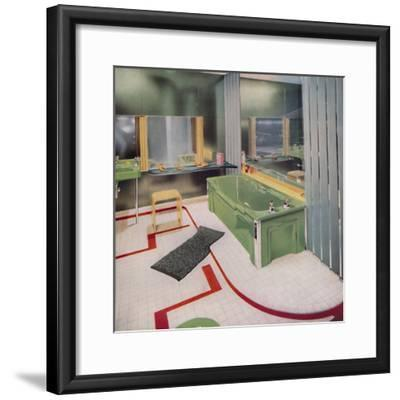 'Glass and tile in the modern Bathroom', 1938-Unknown-Framed Photographic Print