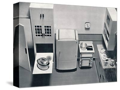 'View of a kitchen, designed by H.M.V. Household Appliances', 1938-Unknown-Stretched Canvas Print
