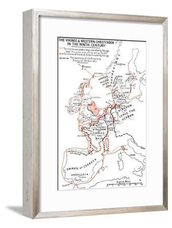 'Map of the Vikings & Western Christendom in the Ninth Century', (1935)-Unknown-Framed Giclee Print