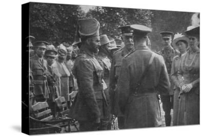'H.M. King George V Talking To Sir Walter Lawrence and Mir Dast, V.C., 25th August 1915', (1939)-Unknown-Stretched Canvas Print