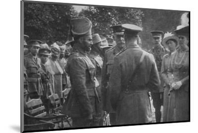 'H.M. King George V Talking To Sir Walter Lawrence and Mir Dast, V.C., 25th August 1915', (1939)-Unknown-Mounted Photographic Print