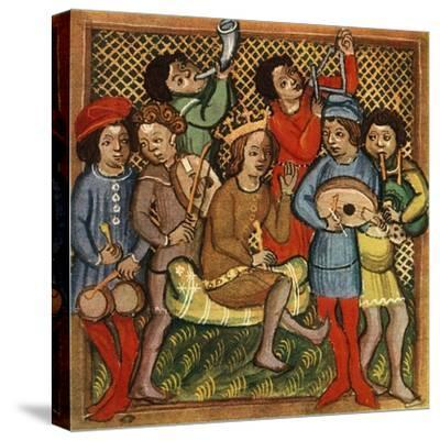 'Small drums, fiddle, horn, triangle lute and bagpipes; Olomouc Bible, 1417', 1948-Unknown-Stretched Canvas Print