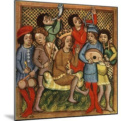 'Small drums, fiddle, horn, triangle lute and bagpipes; Olomouc Bible, 1417', 1948-Unknown-Mounted Giclee Print