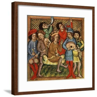 'Small drums, fiddle, horn, triangle lute and bagpipes; Olomouc Bible, 1417', 1948-Unknown-Framed Giclee Print