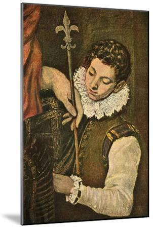 'St. Louis of France (or St. Ferdinand of Castile)', c1586-1590, (1938)-El Greco-Mounted Giclee Print