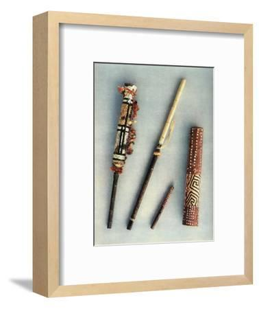 'Drum and wind instruments of the tribe of Baniva Indians, Venezuela.', 1948-Unknown-Framed Giclee Print