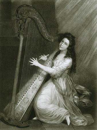 'Pedal harp with hook action; coloured engraving from the end of the eighteenth century', 1948-Unknown-Framed Giclee Print