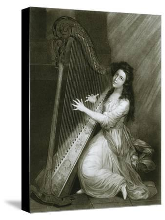 'Pedal harp with hook action; coloured engraving from the end of the eighteenth century', 1948-Unknown-Stretched Canvas Print