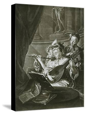 Flute, violin and chitarrone (George Frederick Handel as a young musician in Hamburg)-Unknown-Stretched Canvas Print
