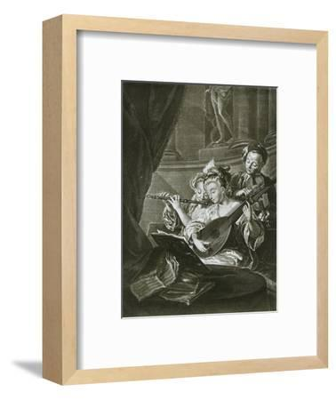 Flute, violin and chitarrone (George Frederick Handel as a young musician in Hamburg)-Unknown-Framed Giclee Print